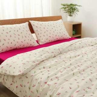 Ikea Emelina Knopp Floral Rose Rosebud Pink Bedsheets Bed Bedding Preorder 3 Piece Set