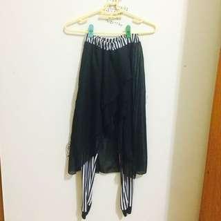 含運🎼優雅紗裙直紋內搭褲