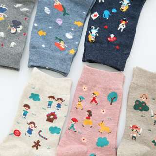 正韓襪 童話迪士尼滿版 美人魚 白雪 愛麗絲 灰姑娘 美女與野獸 中襪