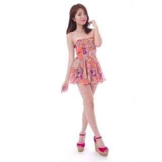 Romper dress (Peach roses)