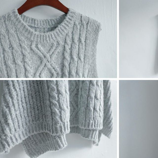 淺灰色背心毛衣