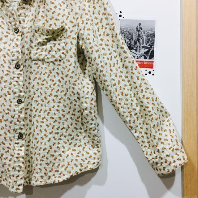 復古米色個性碎花襯衫
