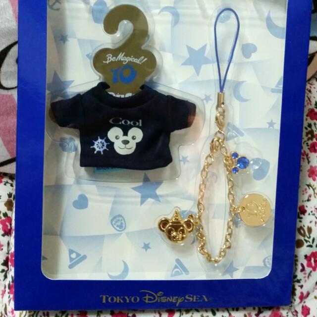 迪士尼 達菲duffy 10週年紀念上衣 水鑽吊飾