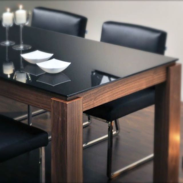 Cellini Black Glass Top Dining Table Style Up Dinning Room