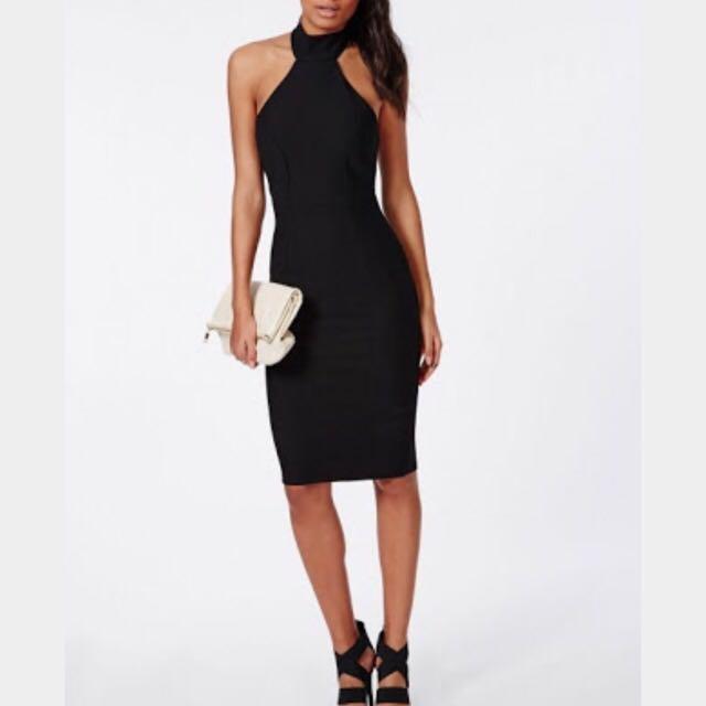 High Neck Midi Dress