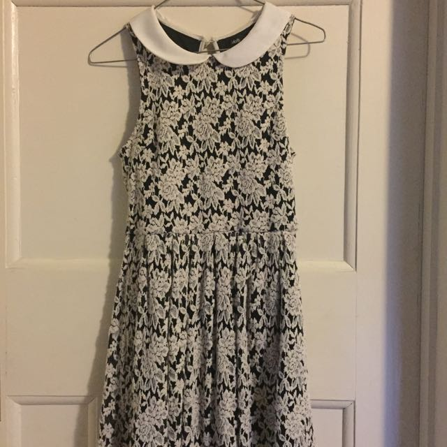 Lace/Floral Dotti Skater Dress with Peter Pan Collar, Size XS