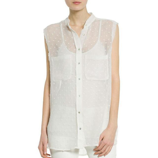 Mango Textured White Chiffon Sleeveless Shirt