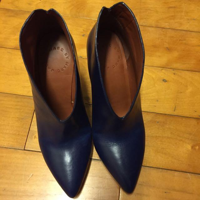 Marc Jacobs 時尚秋冬楔形短靴 (深寶藍 35半)