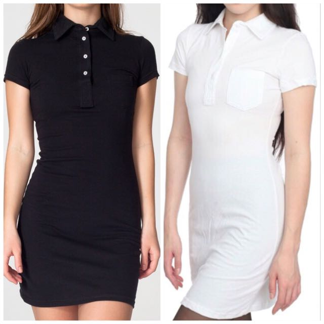1ab94213711b Size M  American Apparel Fine Jersey Leisure Polo Shirt Dress In ...