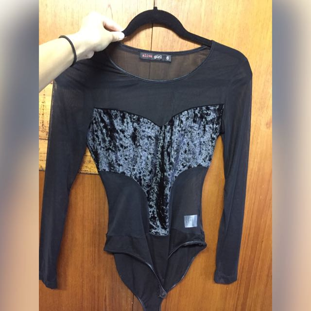 Unworn Body Suit With Velvet Detail