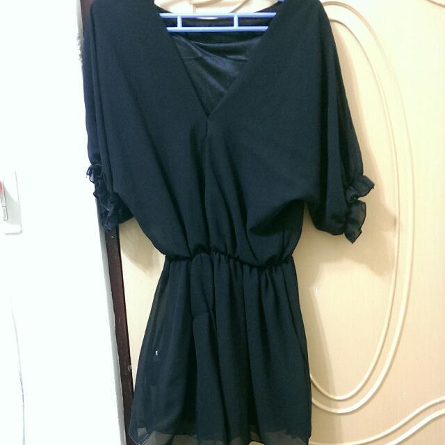 V領寬袖縮腰雪紡洋裝