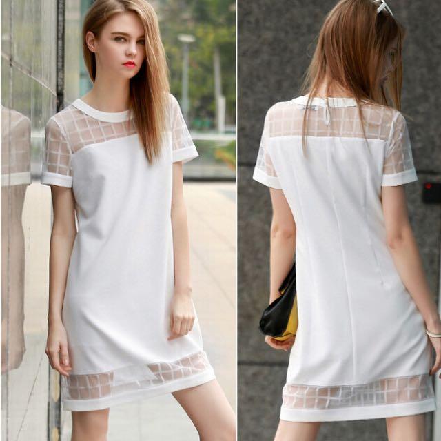 White Mesh Shift Dress