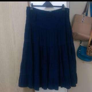 日系 藍色絨布蛋糕裙 Cotton lnn