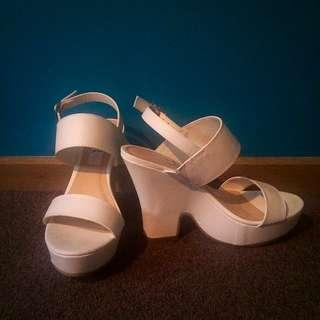 London Rebel White Chunky Heels