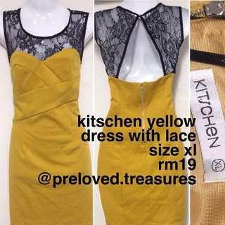 Kitschen Yellow Dress With Lace SIZE XL