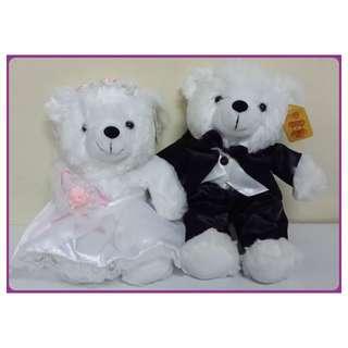 超可愛新郎&新娘造型熊玩偶~天造地設一對 婚車頭裝扮裝飾 結婚壓床小熊情侶 喜慶娃娃公仔 不拆賣