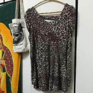 simple sexy,復古豹紋公主袖露背洋裝#兩百元雪紡