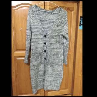 針織 長版 毛衣 毛外套 灰白色 含運300$