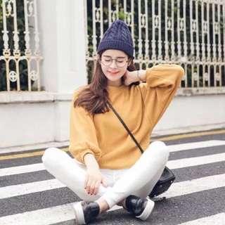 預購💕韓版清新壓紋設計燈籠袖上衣