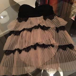 M Cute Pleated Tule Short Dress & Lace Bodice