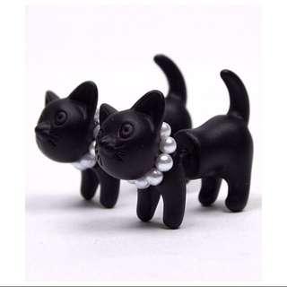 立體貓咪耳環