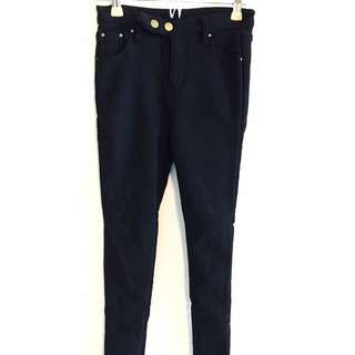 銅釦黑色厚刷毛長褲