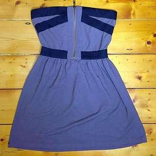 """""""Lush"""" Khaki & Black Zip Up Mini Tube Dress Sz Small 8-10"""