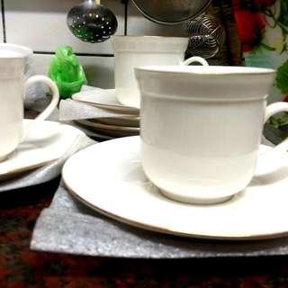 金邊白瓷咖啡杯/茶杯組