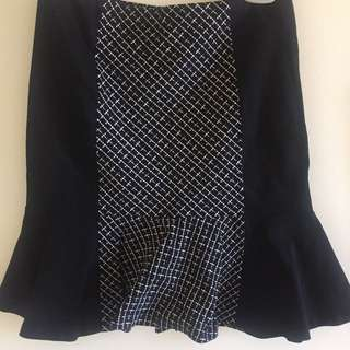 Black & White Skirt - Fitted And Flared