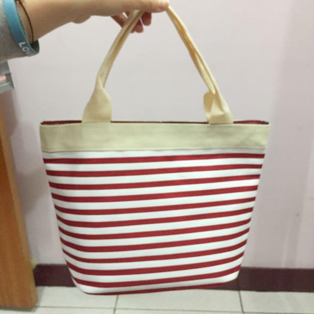 降價!可愛紅條紋手提包❤️👝