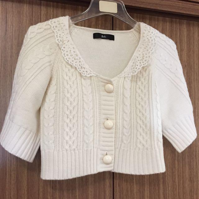 ✨二手時尚女孩兒👸🏻蕾絲短版針織外套