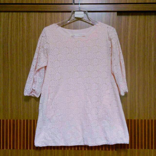 🍀二手春裝搶先看🍀甜美女孩兒👸🏻粉紅蕾絲洋裝