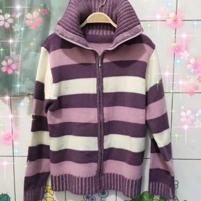 紫色條紋 針織外套