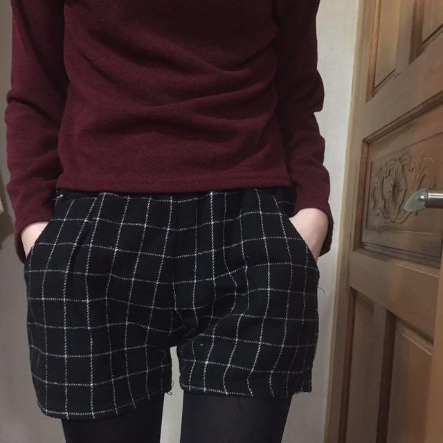 [全新]*貓咪曬月亮*格紋短褲 鬆緊褲頭 Free Size
