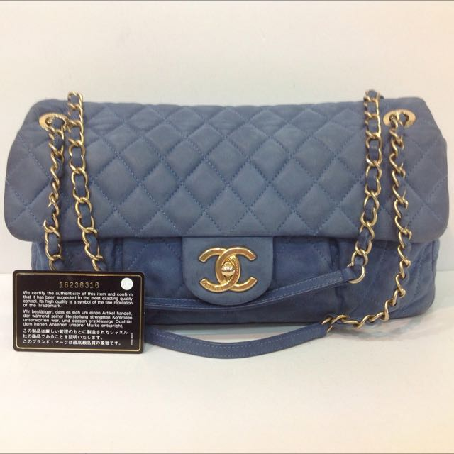 1a094e13d1d3 CHANEL VELVET LEATHER FLAP BAG, Luxury on Carousell