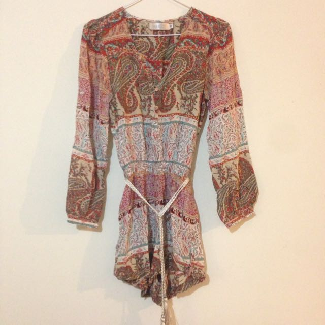 Cute Boho Play suit With Waist Tie Size XS.