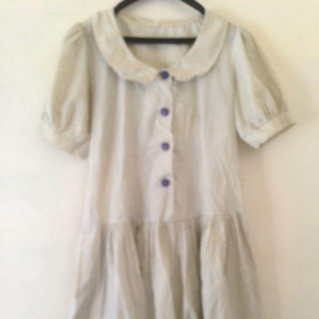 Dress Cute Warna Cream Motif..pake Kantung Kanan Kiri..good Condition..