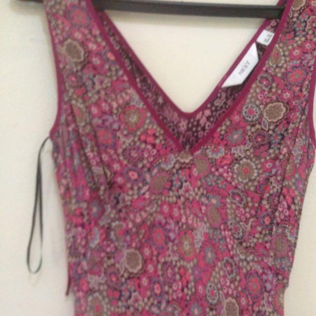 Dress Panjang Merk Next..original..warna Ungu Tua Press Body