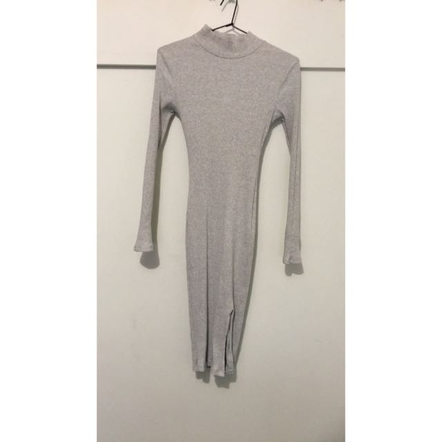 Grey High Neck And Long Sleeve Dress