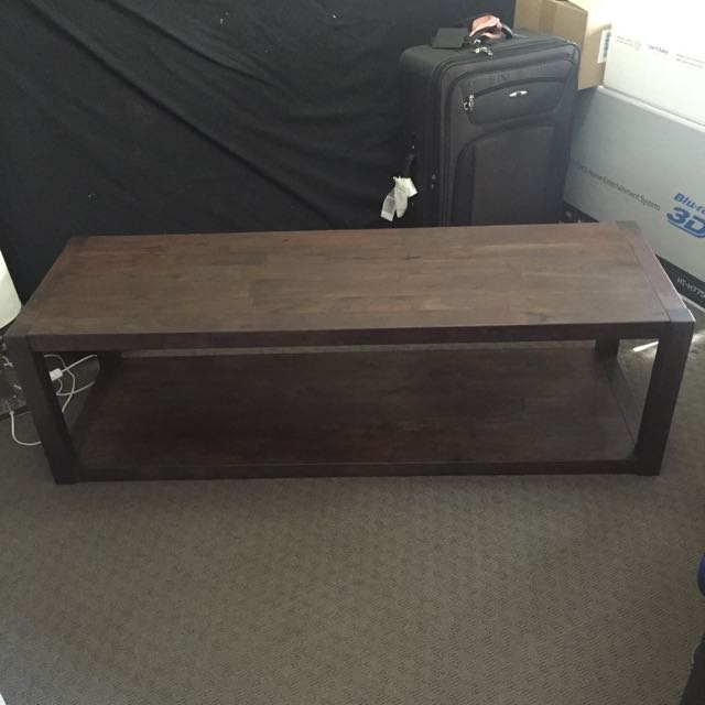 Metropole Rectangular Solid Timber Coffee Table In Chocolate