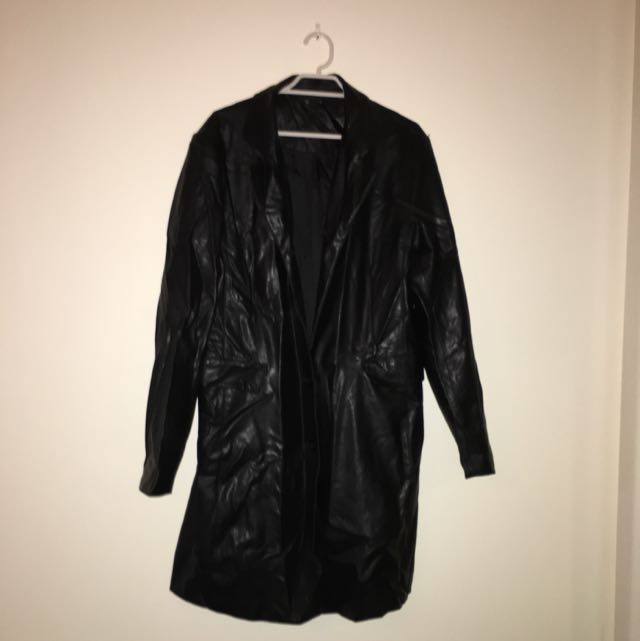 Mid length Size 12 Wet Leather Look Jacket