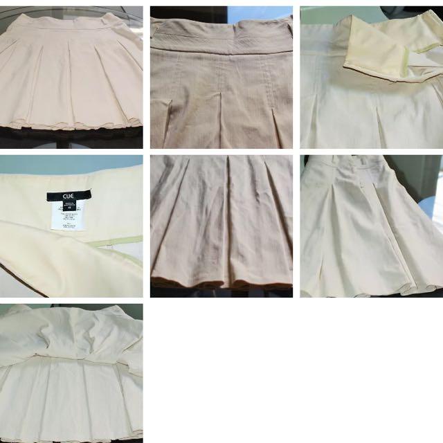 Size 10 Cream Pleated CUE Skirt Business Attire