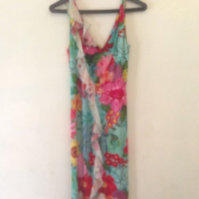 Terusan Dress Panjang,model V ..warna Hijau corak Bunga..