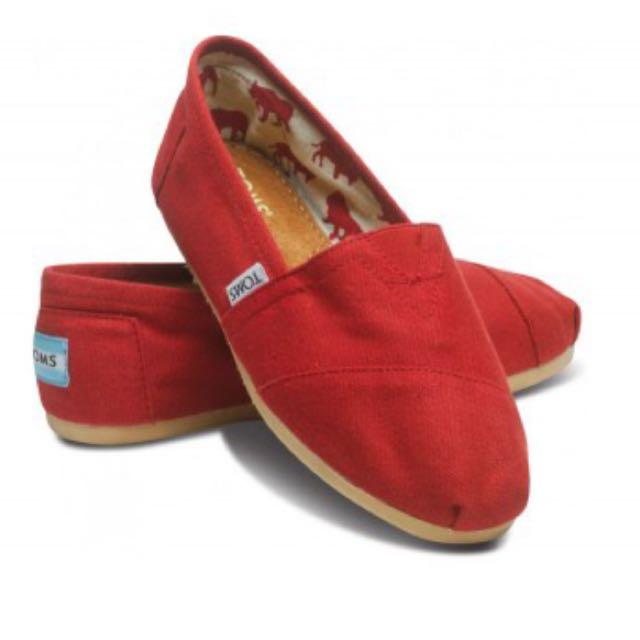 正品實拍Toms 帆布平底鞋 紅色經典款