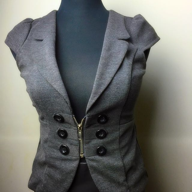 Valleygirl Slate Grey Sleeveless Zip Up Vest Sz 6