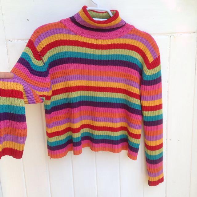 Vintage Rainbow Turtle Neck Crop