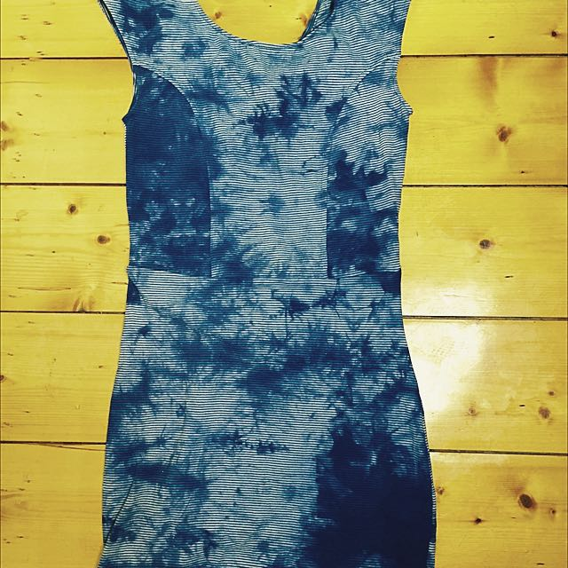 'White By Charcoal' Blue Tie Dye Denim Look Stretch Bodycon Dress Sz 8