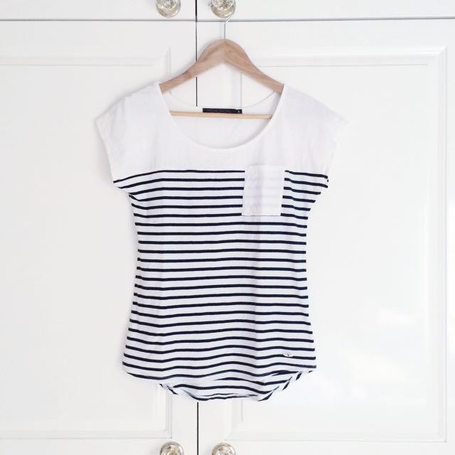 White/Navy Stripped Shirt