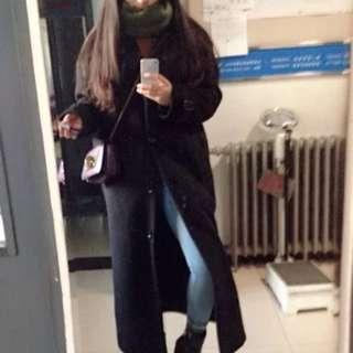 黑色 厚 大衣