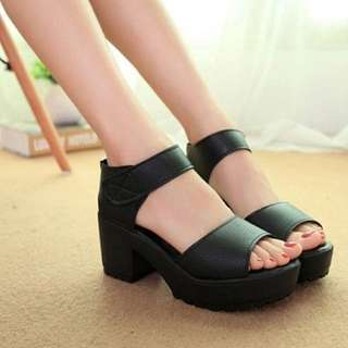 Black High-heeled Platform Heels